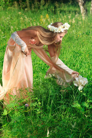 Portrait of a dreamy fairy girl outdoor. Stock Photo - 9962133