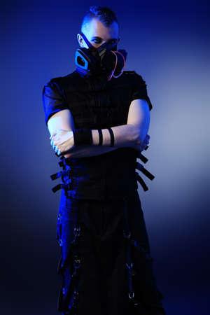 Shot of a conceptual man in a respirator.  photo