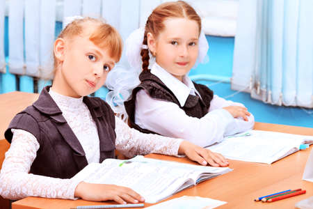 Portrait of a schoolgirls in a classroom. photo