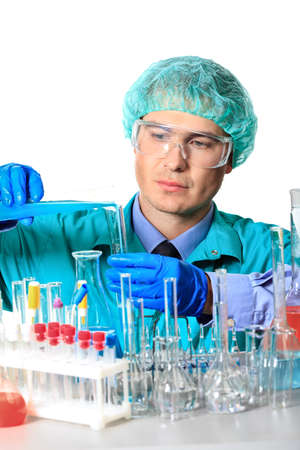 pharmacy technician: Medical theme: scientist is working in a laboratory. Isolated over white.