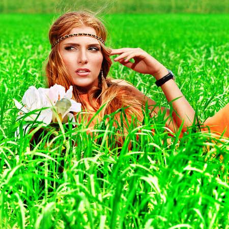 hippy: Beautiful young woman hippie posing outdoor. Stock Photo
