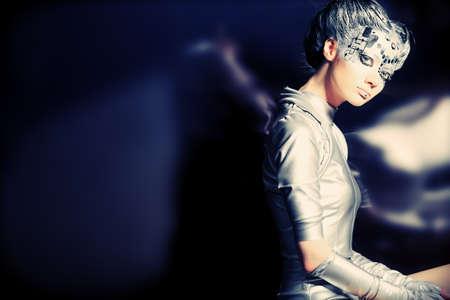 futurism: Shot of a futuristic young woman.
