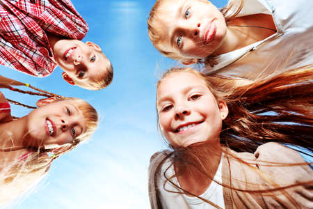 Group of happy children having fun outdoors. Stock Photo - 10133016