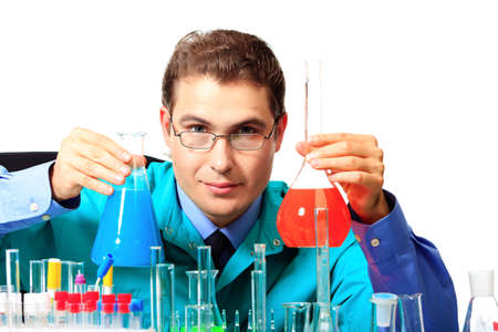 Medical theme: scientist is working in a laboratory. Isolated over white. Stock Photo - 10133082
