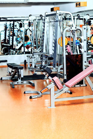 Gym centre interior. Equipment, gym apparatus. photo