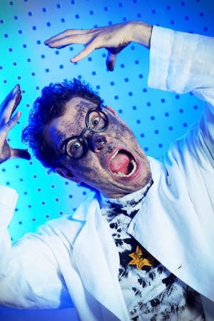 eccentric: Medical theme: funny crazy scientist is working in a laboratory.