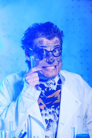 mad scientist: Medical theme: funny crazy scientist is working in a laboratory.