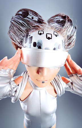Shot of a futuristic young woman wearing glasses.  Stock Photo