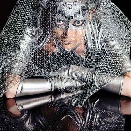 Shot of a futuristic young woman.  photo