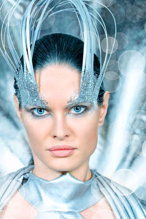 Fashion shot of a beautiful young woman in futuristic costume. Stock Photo - 10418924
