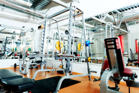 machinery and equipment: Gym centre interior. Equipment, gym apparatus. Stock Photo