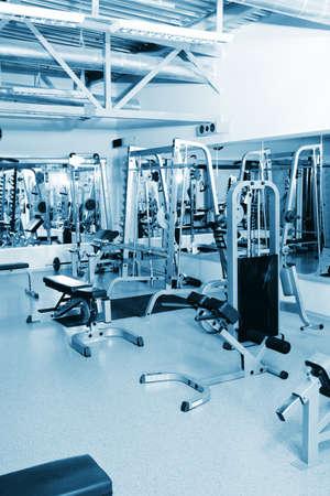fitness equipment: Gym centre interior. Equipment, gym apparatus. Stock Photo