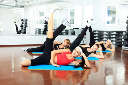 Group of young women in the gym centre.  photo
