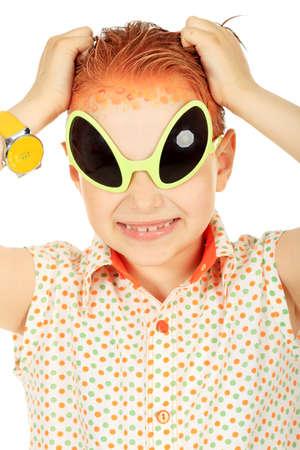 Portrait of a funny boy in futuristic sunglasses. Isolated over white.
