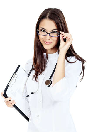 Portrait of a beautiful woman doctor. Isolated over white background.