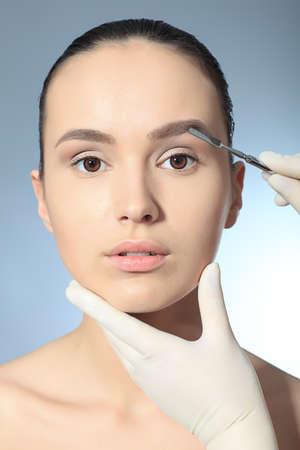 latex glove: Beauty therapeutical female skin juvenation. Stock Photo