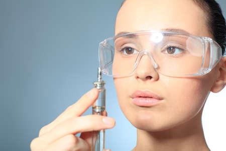 therapeutical: Beauty therapeutical female skin juvenation. Stock Photo