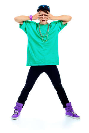 Stylish young man is dancing. Isolated over white background. Stock Photo - 10703046