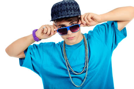 dj boy: Stylish young man is dancing. Isolated over white background.