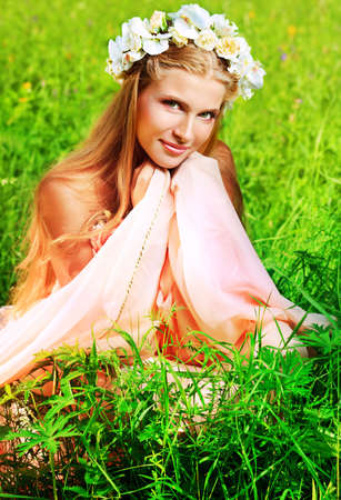 Portrait of a dreamy fairy girl outdoor. Stock Photo - 10727506