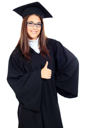 Educational theme: graduating student girl in an academic gown. Isolated over white background. Stock Photo - 10765169