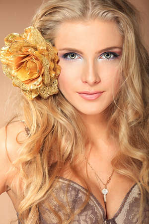blonde females: Portrait of a beautiful woman. Stock Photo