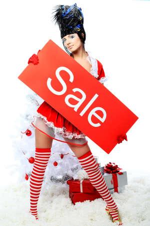 Woman Christmas Tree Dress, Fashion Model Girl And Xmas Present ...