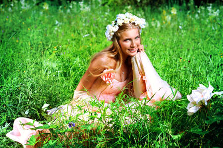 Portrait of a dreamy fairy girl outdoor. Stock Photo - 10978336