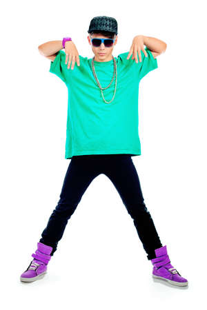 breakdance: Stylish young man is dancing. Isolated over white background.