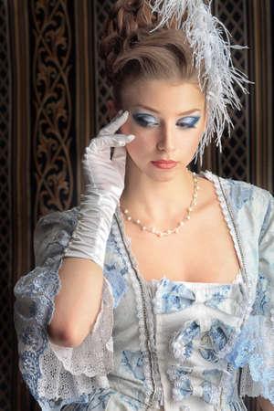 era: Portrait of the elegant woman in medieval era dress.