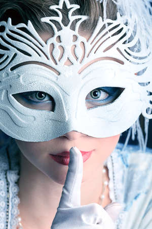 Art portrait of a beautiful female model in a snowy mask. Christmas. Stock Photo - 11185143