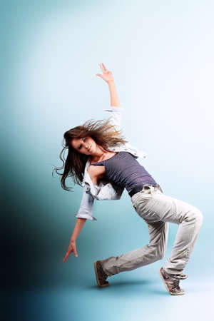 Teenage girl dancing hip-hop at studio. Stock Photo - 11261533