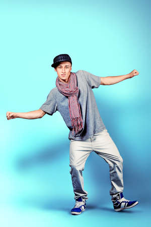 Young man dancing hip-hop at studio. Stock Photo - 11261526