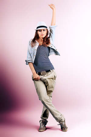 street dance: Teenage girl dancing hip-hop at studio.