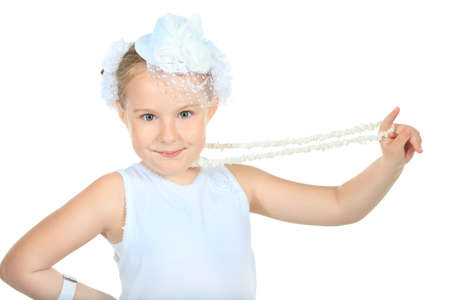 Beautiful little girl in princess dress. Isolated over white background. photo