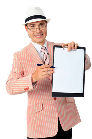 Portrait of a handsome businessman with blank clipboard. Isolated over white background. photo