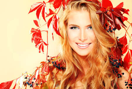 Portrait of a beautiful autumn woman. photo