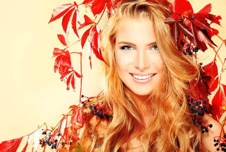 Portrait of a beautiful autumn woman. Stock Photo - 11274822