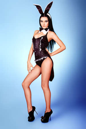 Sexy playgirl in bunny costume over grey background.