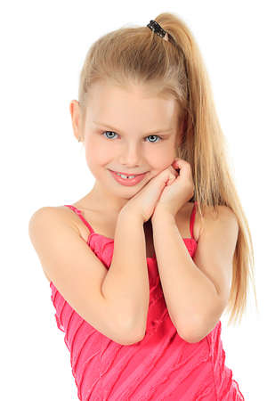 cute little girl smiling: Portrait of a cute 7 years old girl. Isolated over white background.