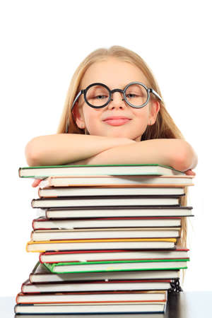 Education - funny girl with books. Isolated over white background. Stock Photo - 11691053