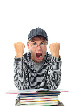 Educational theme: shouting student with books. Isolated over white background. photo