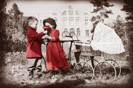 love toys: Cute children having a rest at a park. Retro style.