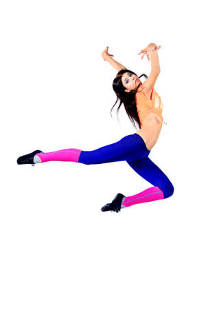 Modern ballet dancer dancing at studio. Isolated over white.