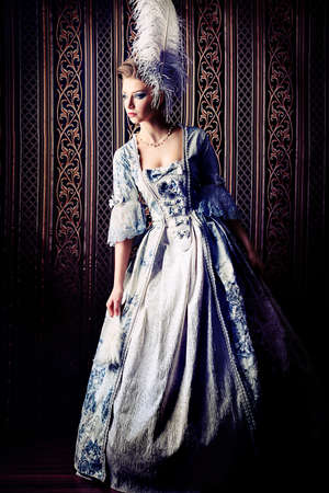 Portrait of the elegant woman in medieval era dress.  photo