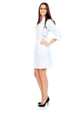 Portrait of a beautiful woman doctor. Isolated over white background. Stock Photo - 12351503