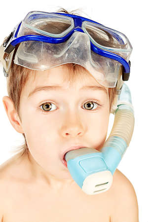Little boy in scuba mask and snorkel. Isolated over white. photo