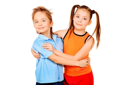 Portrait og two cheerful children. Isolated over white. Stock Photo