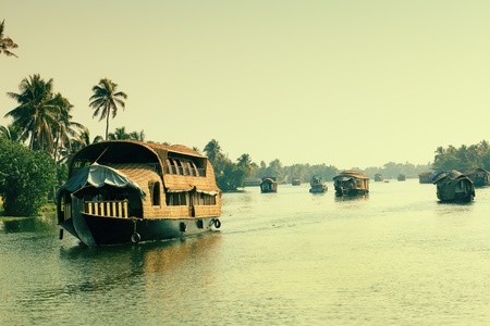 Picturesque tropical landscape with traditional houseboat. Stock Photo - 12658940