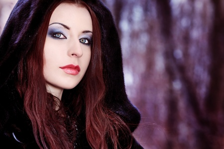 Shot of a gothic woman in a winter park. Fashion. photo